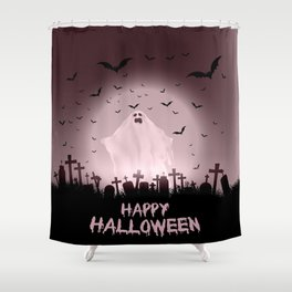 Halloween landscape with ghostly figure and haunted cemetery Shower Curtain