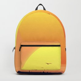 Desert Landscape setting sun. Backpack