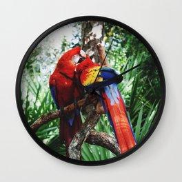 Rainbow Macaws Wall Clock