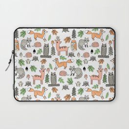 Woodland foxes rabbits deer owls forest animals cute pattern by andrea lauren Laptop Sleeve