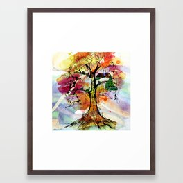 Peacock Family Tree Fine, Multicolored, Watercolor, Family Tree Art Framed Art Print