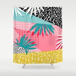 Bingo - throwback retro memphis neon tropical socal desert festival trendy hipster pattern pop art Shower Curtain