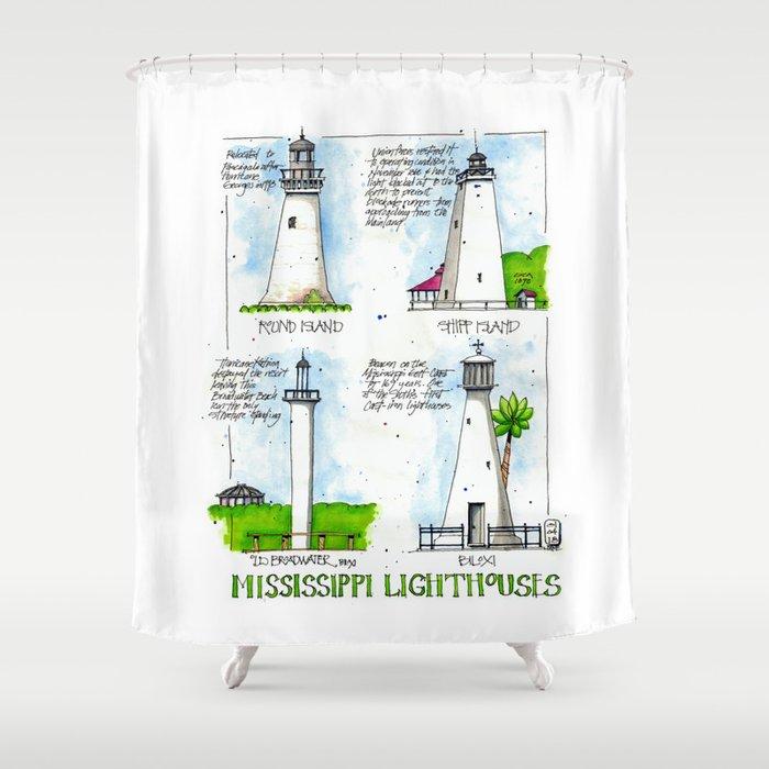 Mississippi Lighthouses Shower Curtain