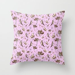 Cute Otters :) Throw Pillow