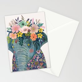 Elephant with flowers on head Stationery Cards