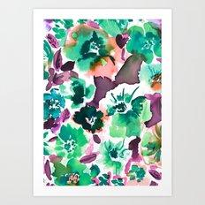Zoe Floral Sea Green Art Print