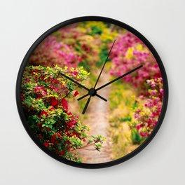 Footpath with azaleas Wall Clock