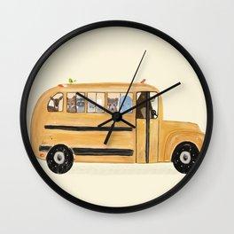 little yellow bus Wall Clock