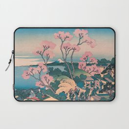 Spring Picnic under Cherry Tree Flowers, with Mount Fuji background Laptop Sleeve
