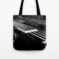 bass Tote Bags featuring Bass  by Lia Bedell