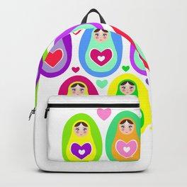 Russian dolls matryoshka, rainbow colors Backpack