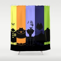 teen titans Shower Curtains featuring Vector Titans by Hybryda