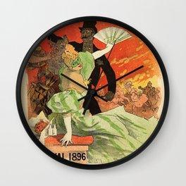 Th Tre De L Op Ra Carnaval 1896 Grand Veglione De Gala 1896 By Jules Cheret | Reproduction Art Nouve Wall Clock