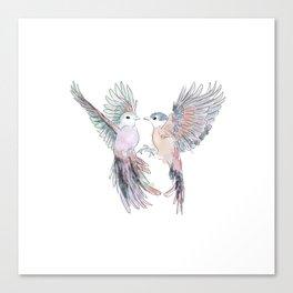 Birds in love tropical bird home decor Canvas Print