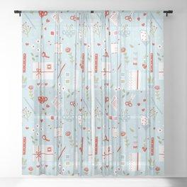 Holiday Stationery Sheer Curtain