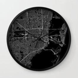 Miami Black Map Wall Clock