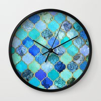 hippy Wall Clocks featuring Cobalt Blue, Aqua & Gold Decorative Moroccan Tile Pattern by micklyn