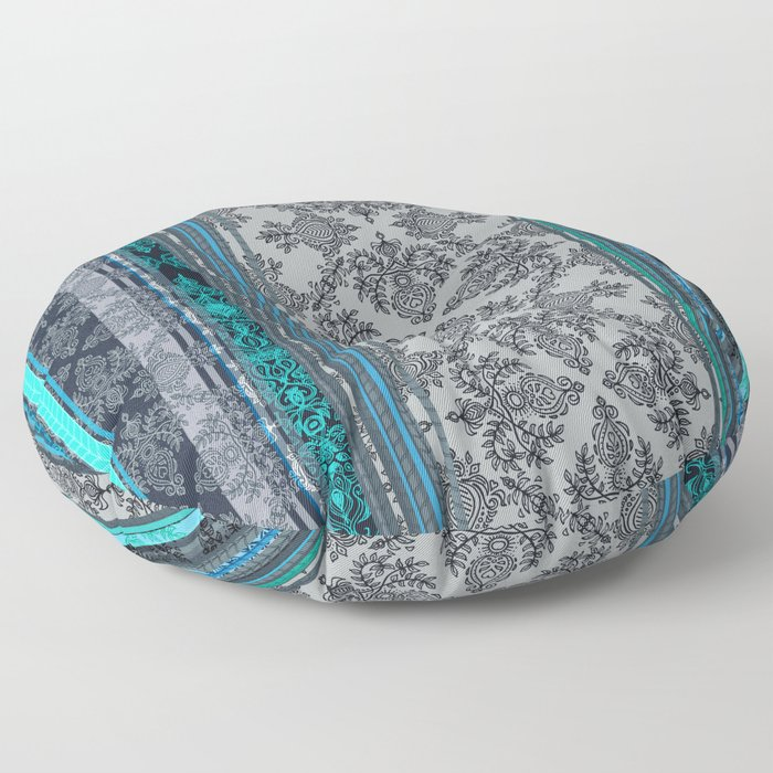 Teal, Aqua & Grey Vintage Bohemian Wallpaper Stripes Floor Pillow