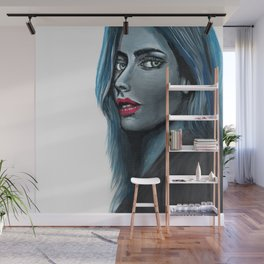 Blue Woman #painting #illustration Wall Mural