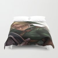 hyrule Duvet Covers featuring Link: Hyrule Warrior by KlsteeleArt