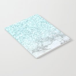 Turquoise Sea Mermaid Glitter Marble Notebook
