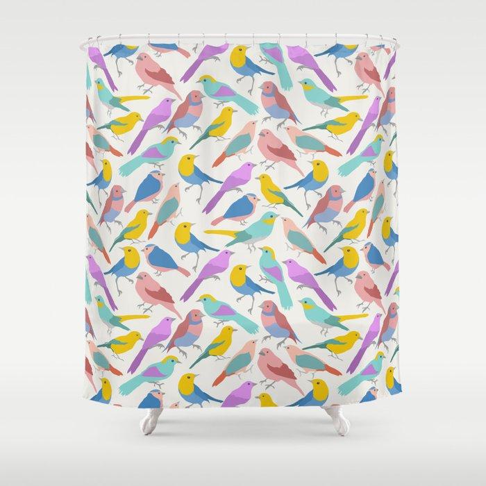 Dazzling Colored Bird Pattern Shower Curtain