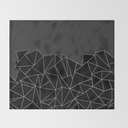Ab Lines 45 Grey and Black Throw Blanket