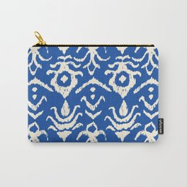 Blue Ikat Damask Print Carry-All Pouch