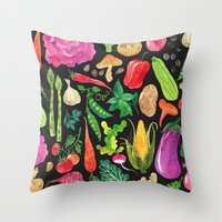 oana befort Throw Pillows featuring VEGGIES in black by Oana Befort