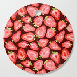 Fresh strawberry slices watercolor dark bg Cutting Board
