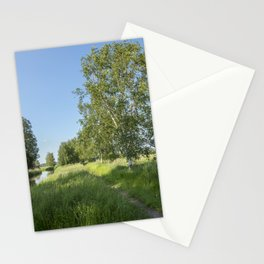 Rural Summer Landscape With River Stationery Cards