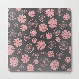 Floral Pattern - pale pink, charcoal gray Metal Print