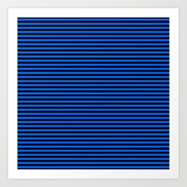 Across striped black and blue background Art Print