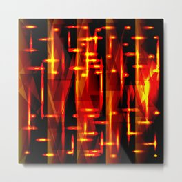Luxurious red stripes and metallic orange triangles of fire create abstraction and glow. Metal Print