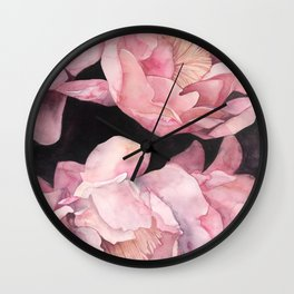 Peonies on Dark Background Wall Clock