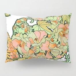 Romance in Paris, Art Nouveau Floral Nostalgia Pillow Sham