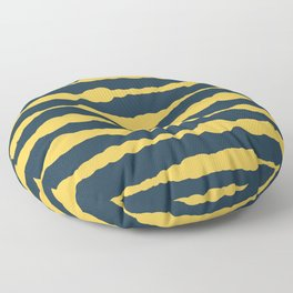 Macrame Stripes in Mustard Yellow and Navy Blue Floor Pillow