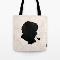 sherlock holmes Tote Bags featuring Sherlock Holmes by thescudders