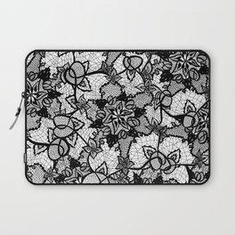 Elegant floral black hand drawn lace pattern Laptop Sleeve