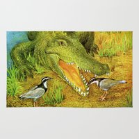 crocodile Area & Throw Rugs featuring Crocodile by Natalie Berman