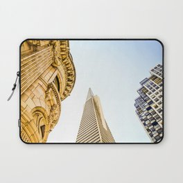 pyramid building and modern building and vintage style building at San Francisco, USA Laptop Sleeve