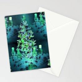Blue/Green Yule Tree Stationery Cards