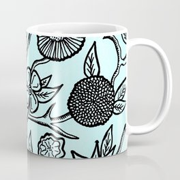 Flower Pattern Blue Coffee Mug