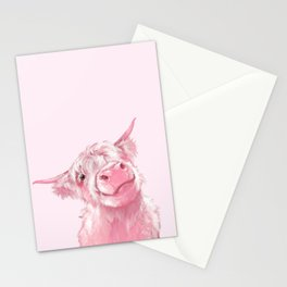 Highland Cow Pink Stationery Cards