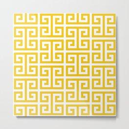 Large Gold and White Greek Key Pattern Metal Print
