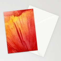Red Orange Abstract Watercolor Texture, Poppy Flower Stationery Cards