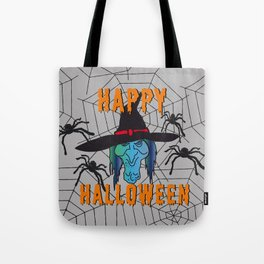 turquoise Witch Happy Halloween Tote Bag