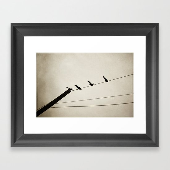 birds on a line Framed Art Print