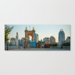 John Roebling Bridge and Cincinnati Skyline Panoramic Canvas Print