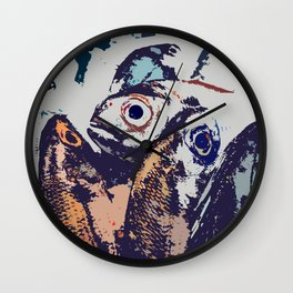 The fish. The water drives a wedge of iron through the iron edge of the cliff. Wall Clock